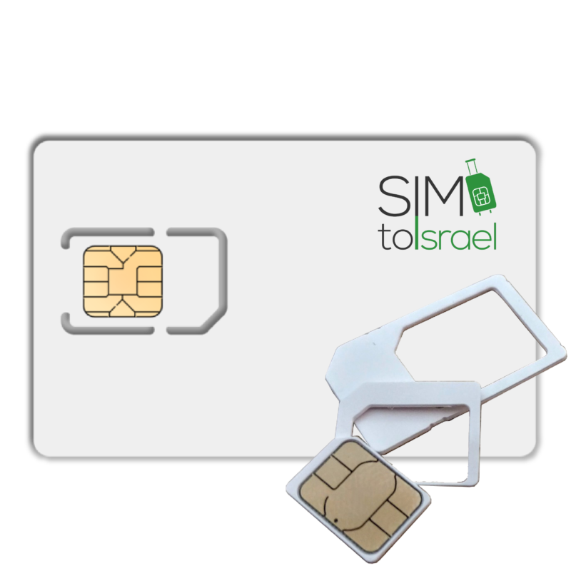 Israeli SIM card showing all three triple sizes