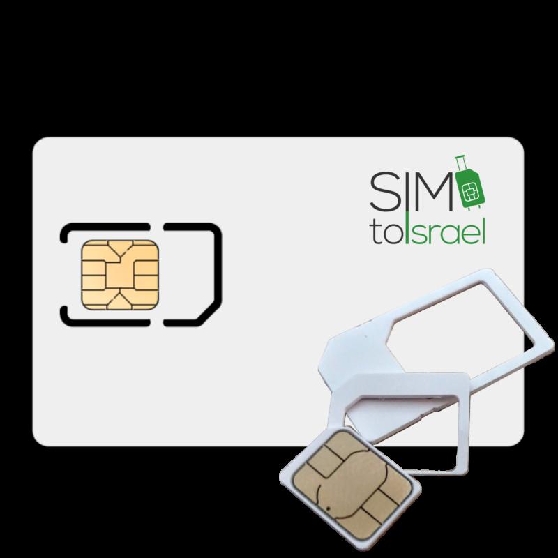 Israeli SIM card showing all three triple sizes